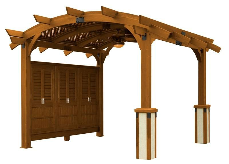 Sonoma Pergola 14 Ft w-Roof-Wall Redwood