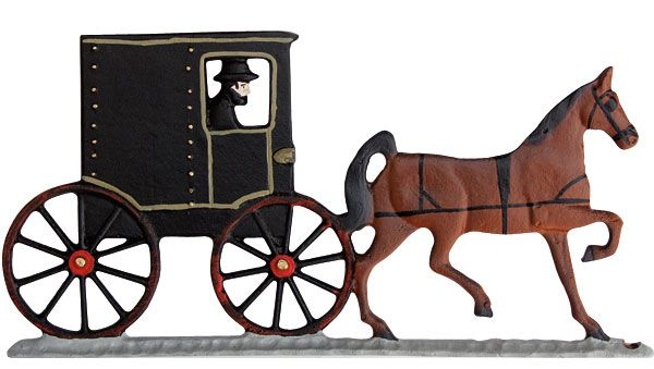 Amish Buggy Weathervane Rooftop Black