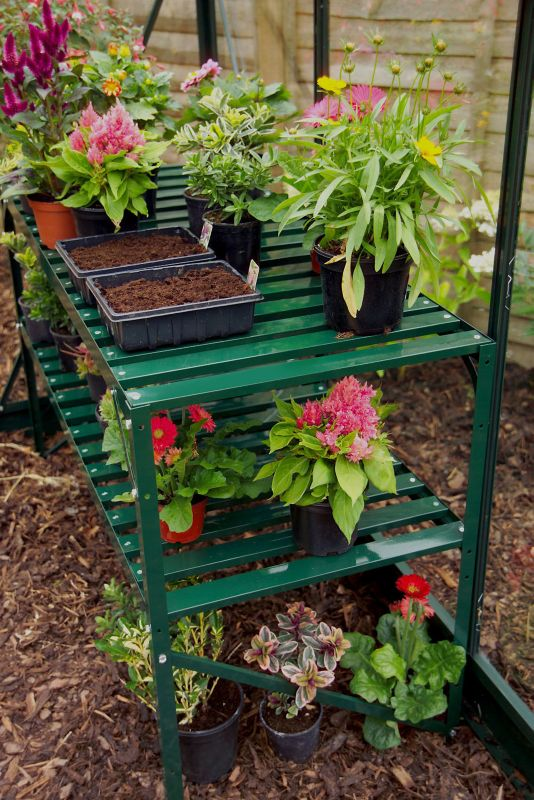 Halls Greenhouse Shelf 4Ft Two Tier Bench Green
