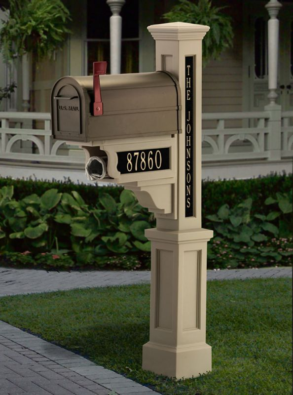 Mailbox Plaques Single Vertical Taupe Ivory