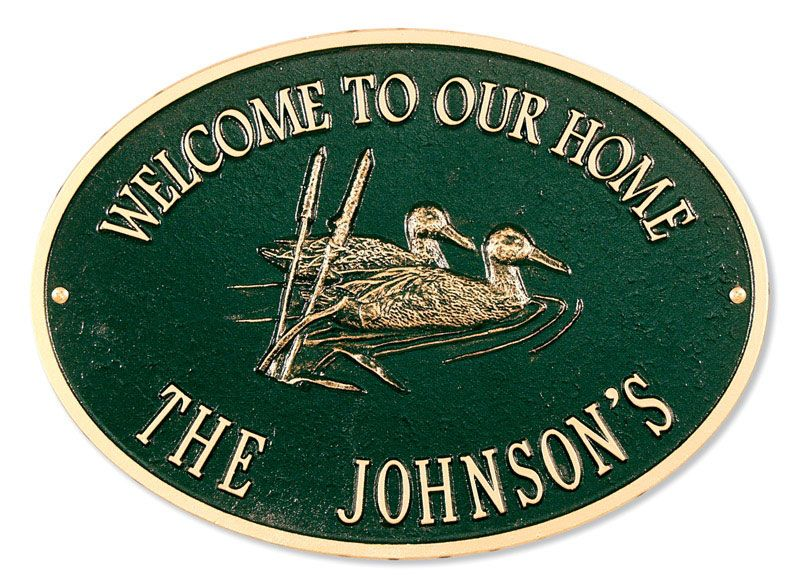 Oval Welcome Ducks Plaque Antique Brass