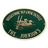 Oval Welcome Ducks Plaque