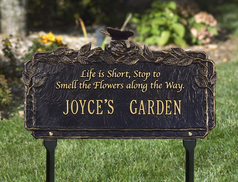 Butterfly Poem Garden Plaque Green-Gold