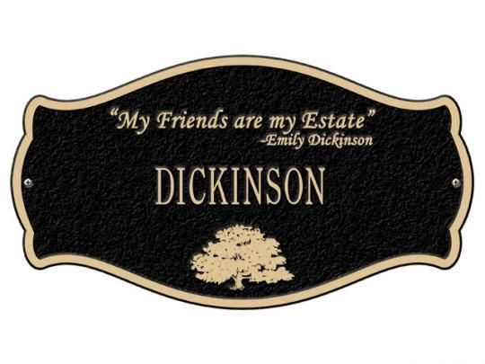 Dickinson Quote Plaque Antique Brass