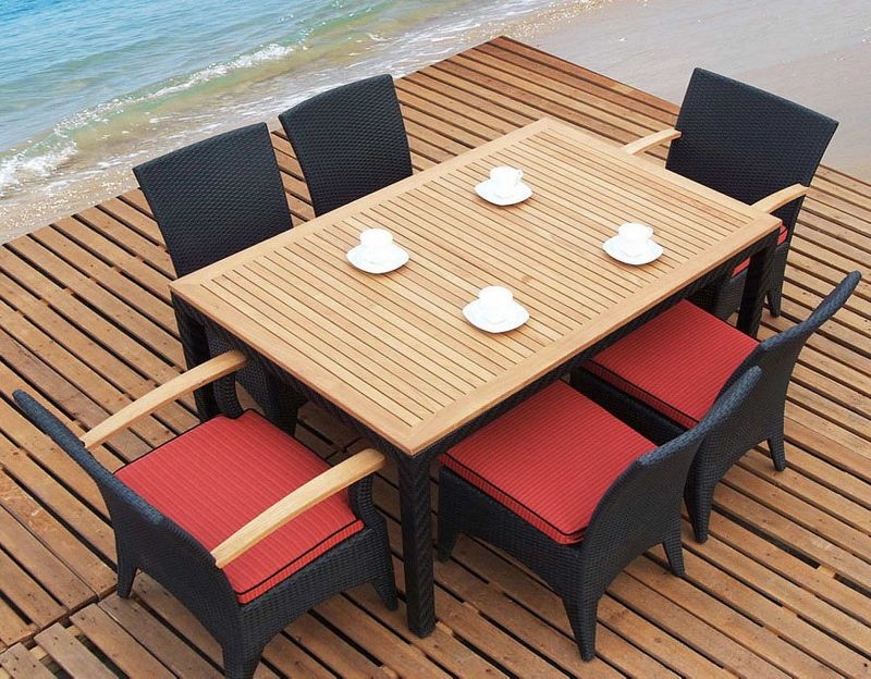 Outdoor Dark Brown Dining Set