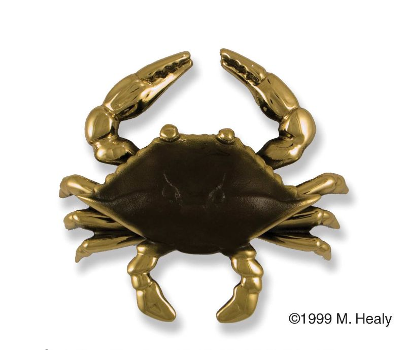 Blue Crab Door Knocker Brass