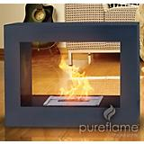 Black Window Flame Free Standing Fireplace