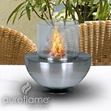 Spherical Glass Fire Table Top Fireplace