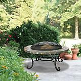 Slate Firebowl with Copper Accents 34 Inch