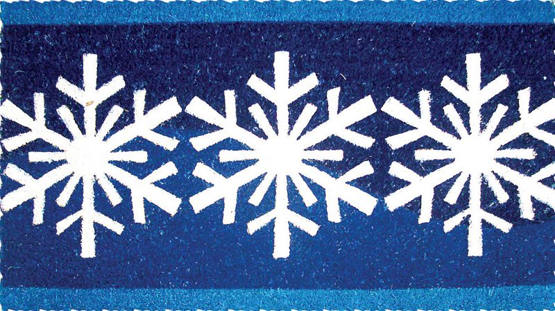 Blue Snow Flakes Coir Doormat
