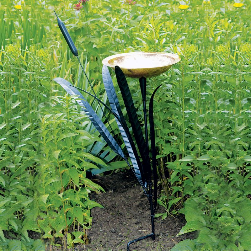 Cattail Birdbath Single
