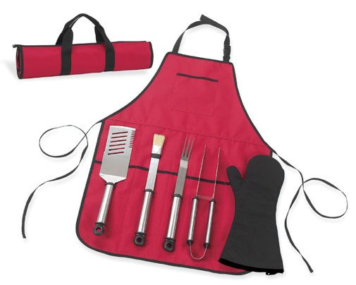 B.B.Q-Chefs Barecue Apron And Tools Red