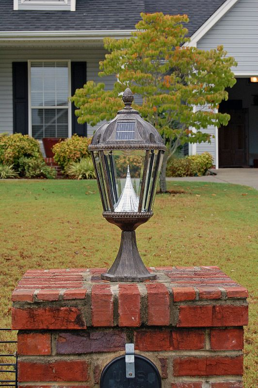 Royal Solar Post Lantern Triple Bronze