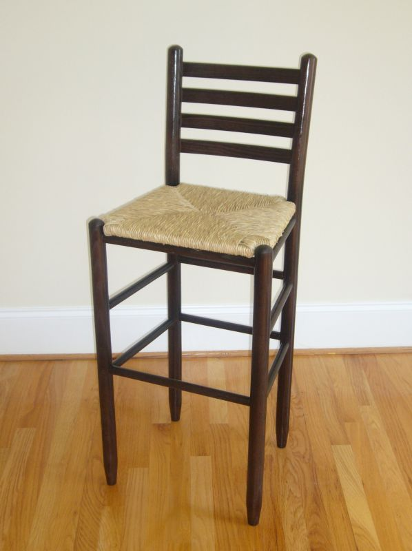 Ladder Back Barstool Woven Seat 24In Black