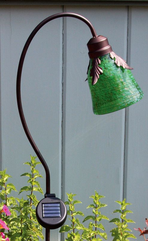 Solar Art Glass Lamp Green