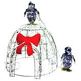 Outdoor Decor LED Igloo with Two 15inch Penguins