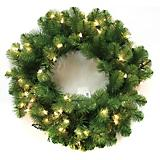 36in Wreath Nottingham Pine PVC 100 Clear Lights