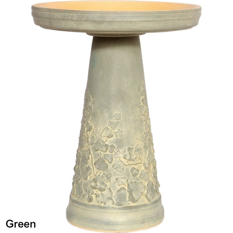 Burley Clay Woodland Ivy Birdbath Set Green