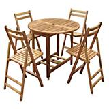 Merry Products Acacia Folding Dining Chairs