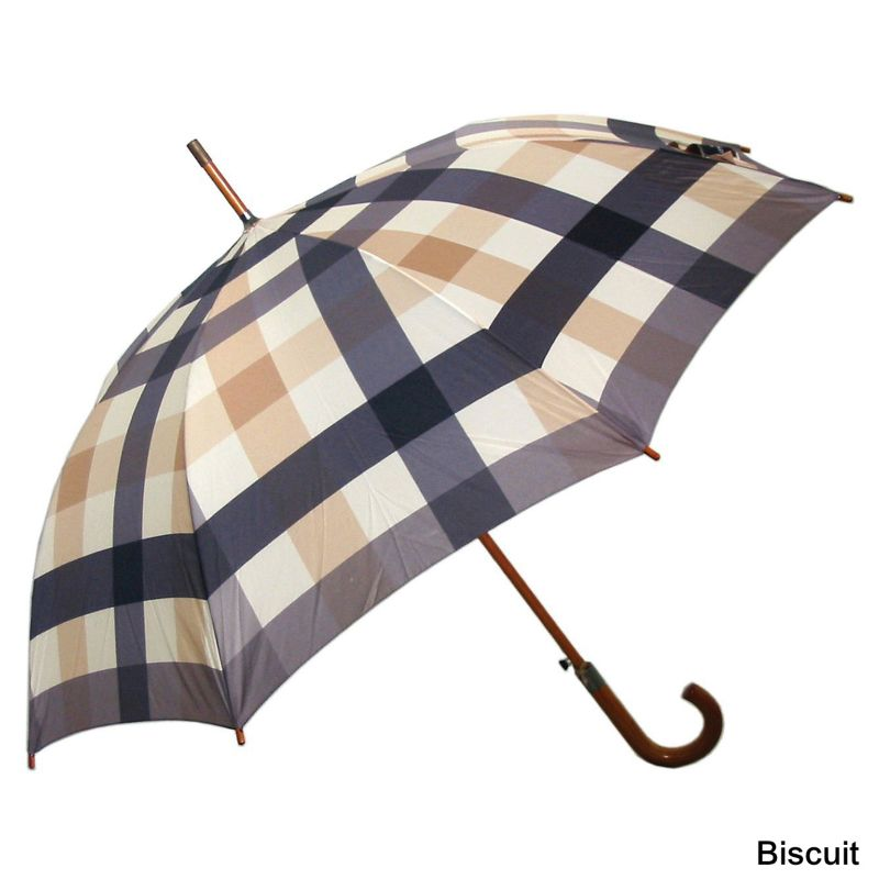 Laura Ashley Check Umbrella  Charcoal/Biscuit