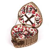 Laura Ashley Heart Shaped Wicker Picnic Basket
