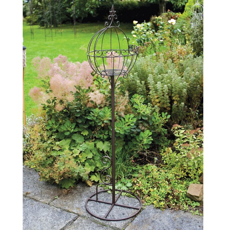 Laura Ashley Ball Plant Stand  Oyster