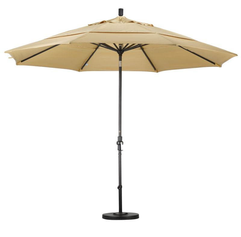 11Ft Aluminum Tilt Market Umbrella Black Natural