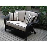 Ebony All Weather Wicker Loveseat and Cushions
