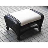 Ebony All Weather Wicker Ottoman and Cushion