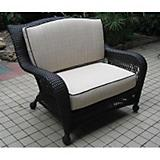 Ebony Wicker Chair and a Half with Cushions