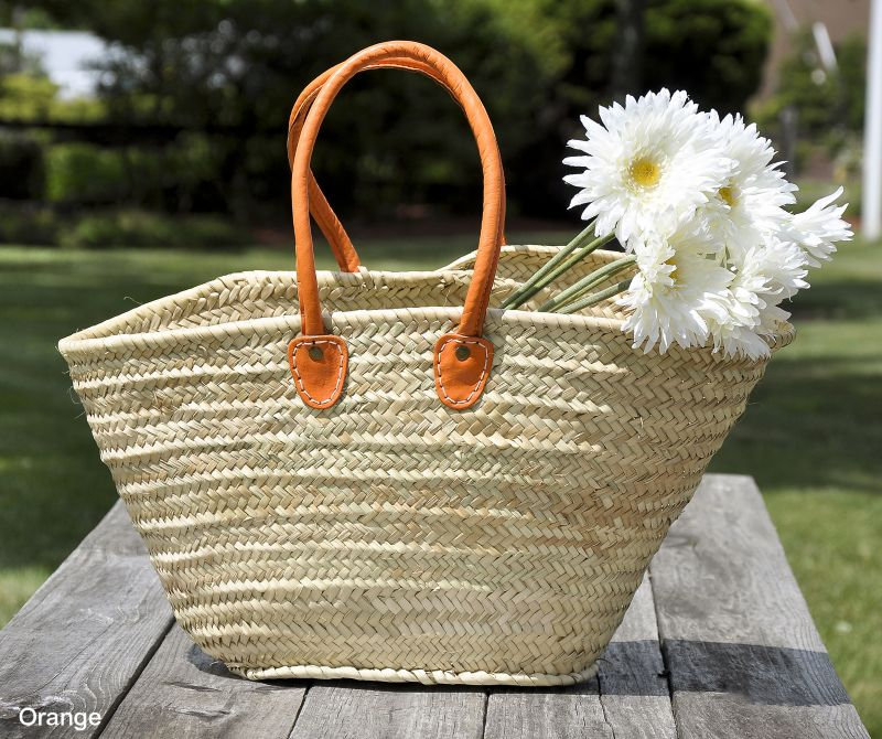 Colored Handle Woven Market Tote Bag Orange