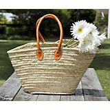 Colored Handle Woven Market Tote Bag