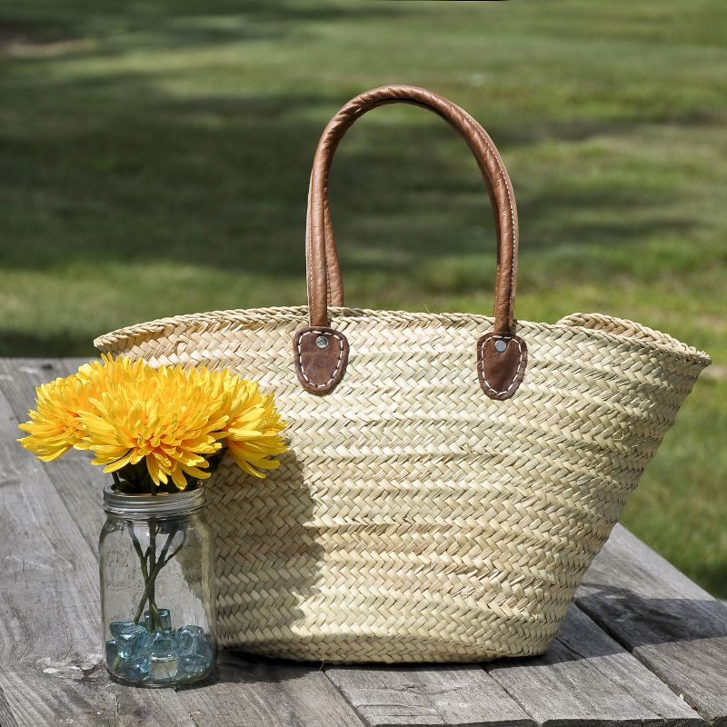Medium Leather Handle Woven Market Tote Bag