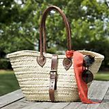 Closeable Leather Handle Woven Market Tote Bag