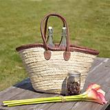 Leather Handle and Trim Woven Market Tote Bag