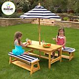 Table and Bench Set with Cushions and Umbrella