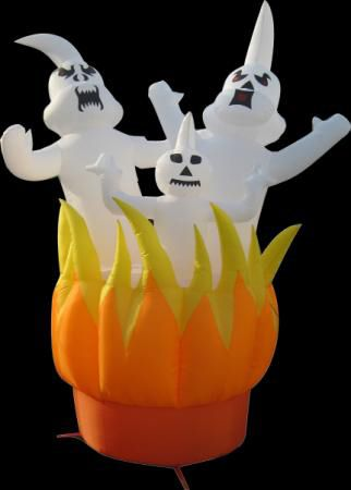 10ft Inflatable Ghosts On Fire