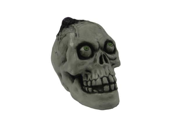 8in Skull with LED Color Changing Light Snake Eye
