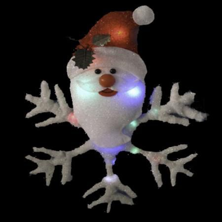 20in Santa Head Snowflake with LED Lights