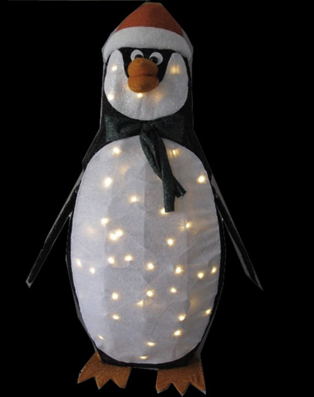 48in Animated Penguin with Clear Mini Lights