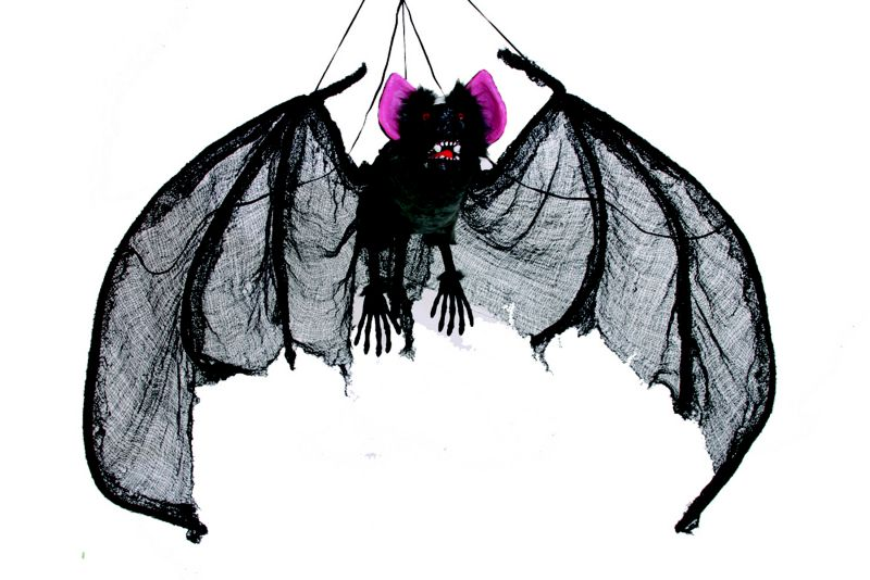 72in Wing Span Hanging Bat Decor with Red Gem Eyes