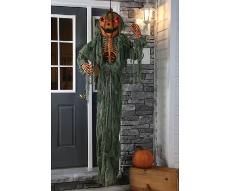 78in Hanging Light Up Pumpkin Head Scarecrow