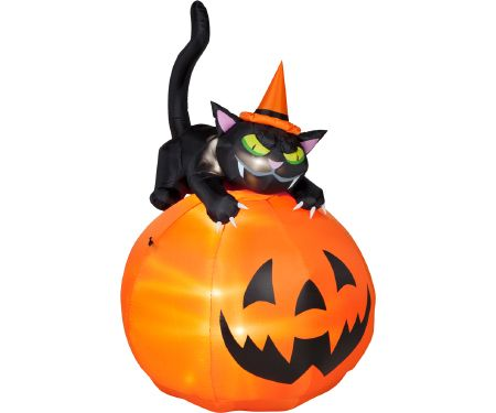 6ft Airblown Black Cat Over JackoLantern