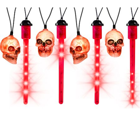 Red LED Blood Drip Lights with Skulls Set of 8