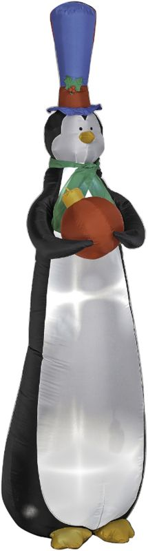 9ft Airblown Sky High Penguin Holding Red Ornament