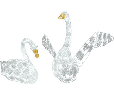 2ft Sparkle Lighted Snowflakes Swan Coup