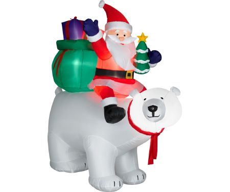 6ft Airblown Santa Sitting on Polar Bear Scene