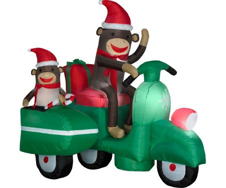 5ft Airblown Sock Monkeys in Scooter Scene
