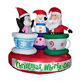 Animated Tea Cup Ride w/Santa-Snowman- Penguin