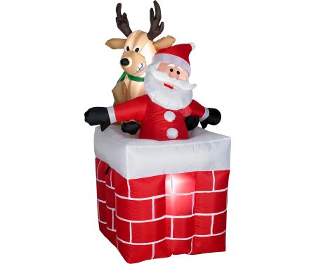 4ft Airblown Reindeer Pulling Santa from Chimney
